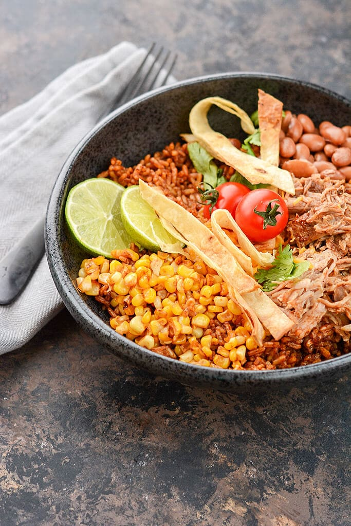 Slow Cooker Pork Enchilada Bowls