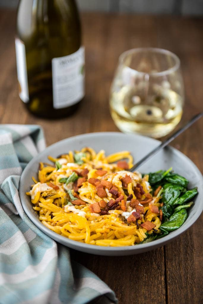 Butternut Squash Pasta with Kale and Goat Cheese