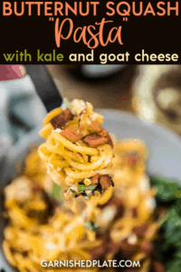 Forget regular pasta once you try spiralized butternut squash! With bacon, kale and goat cheese it a quick weeknight skillet meal! #butternutsquash #pasta #kale #goatcheese