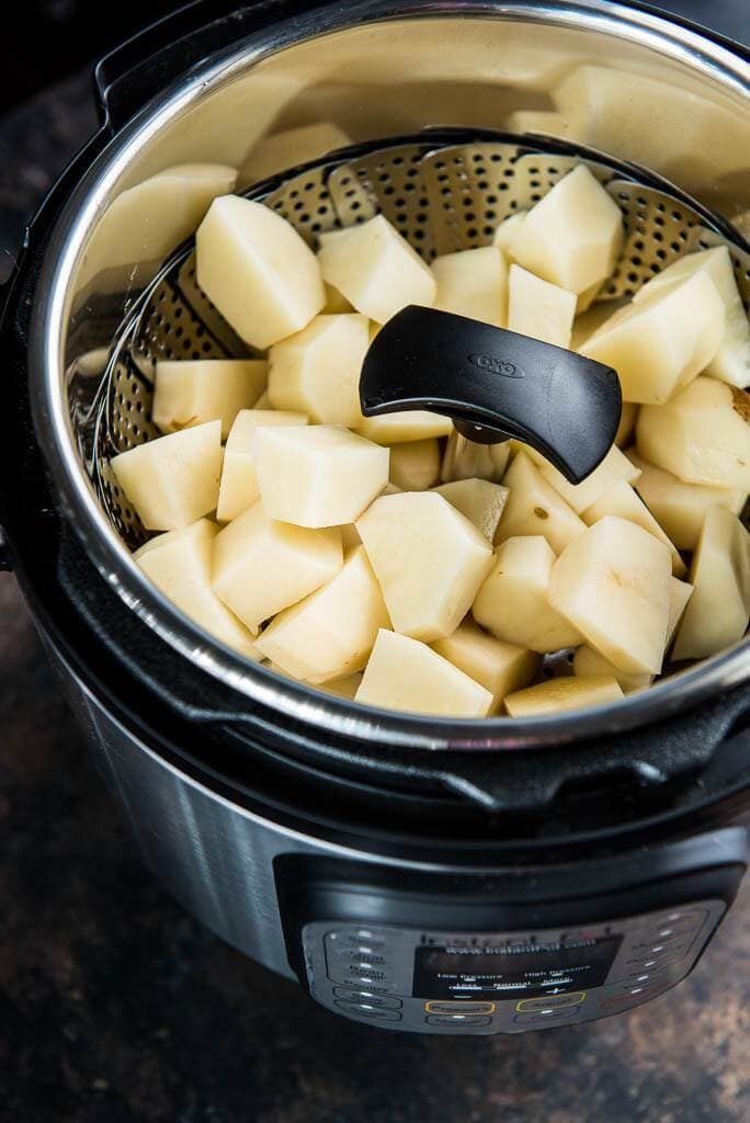 top view of uncooked potato in instant pot