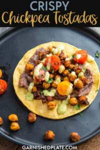 Perfect for Meatless Monday or any other day of the week, these Crispy Chickpea Tostadas are delicious and filling! #crispychickpea #chickpea #tostadas