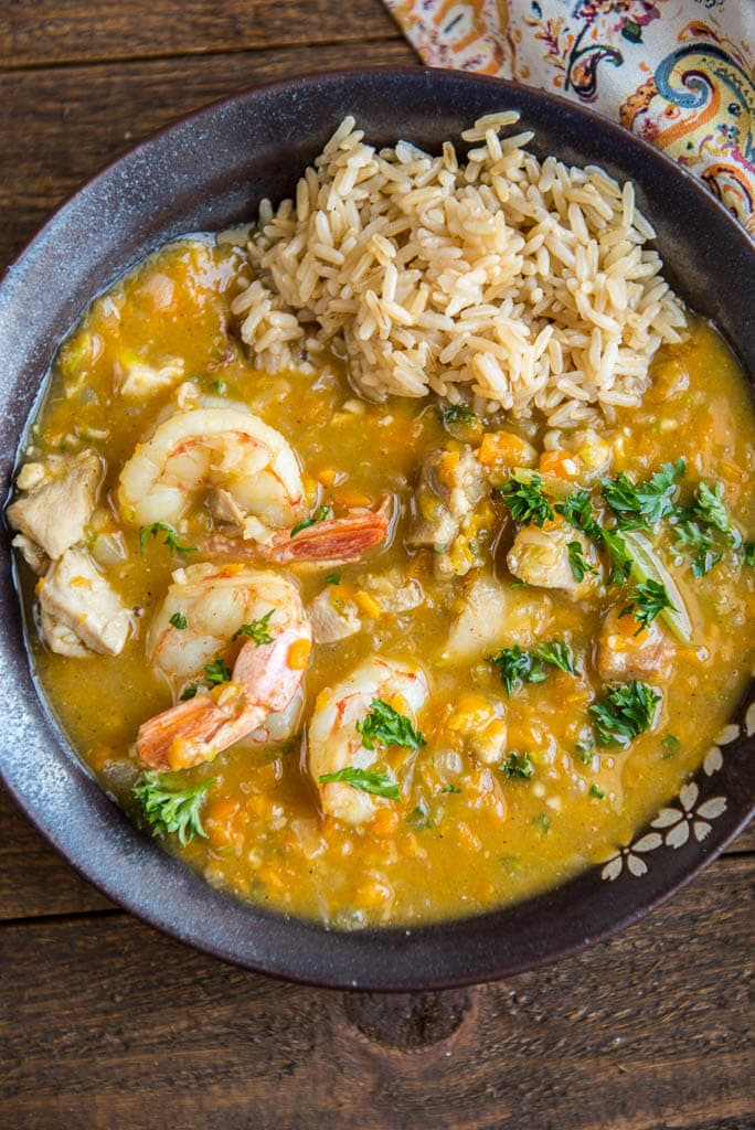 Delicious and simple to make dinners are the best! This Quick Chicken and Shrimp Gumbo comes together in about 30 minutes and is so tasty!