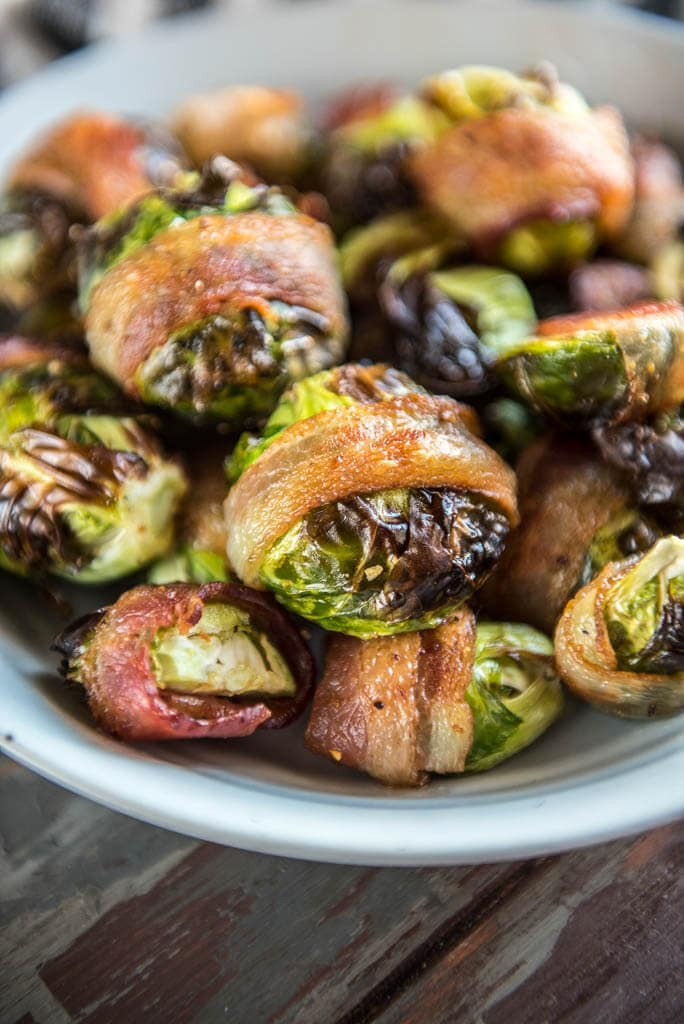 Crispy Air Fryer Bacon Wrapped Brussels sprouts in gray bowl