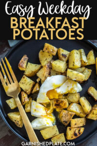 One of my favorite meal prep recipes is breakfast potatoes! Breakfast potatoes are the ultimate filling breakfast and perfect to serve with eggs or other favorite breakfast foods! #easy #breakfast #potatoes