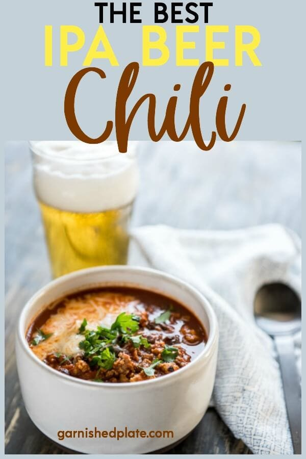Win your next chili cookoff or just totally impress your friends! The Best IPA Beer Chili brings together all the amazing flavors you love for a delicious chili anytime of the year! #chili #chilirecipe #dutchoven #beer #beerrecipe #beerchili #ipa #craftbeer #craftbeerrecipe