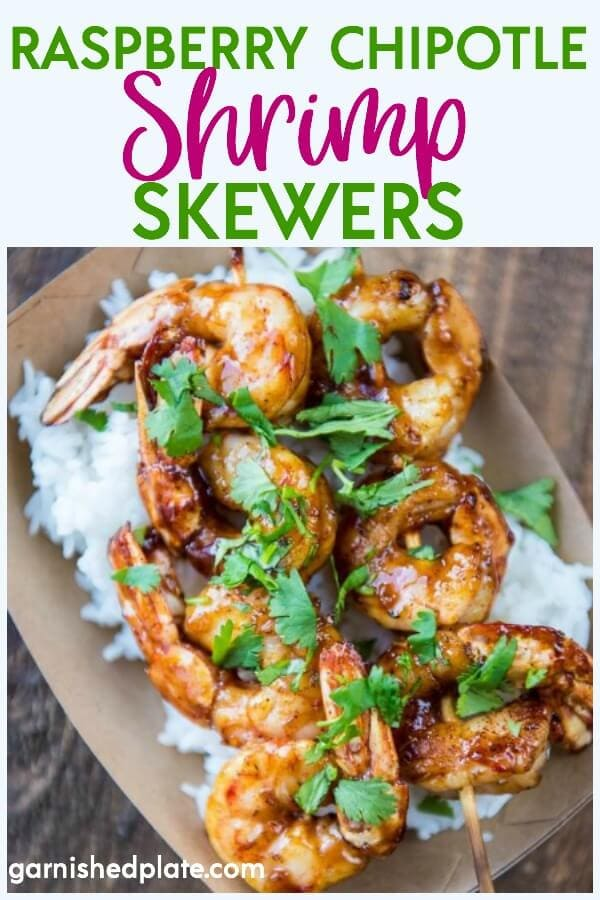 The perfect quick and easy meal! With a slightly spicy sauce these Raspberry Chipotle Shrimp can be cooked on the grill or in your favorite pan for a quick weeknight dinner. #shrimp #grill #shrimprecipe #grillrecipe #chipotle #summer #raspberry