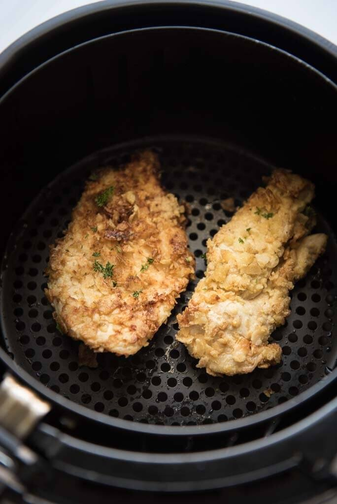 air fryer potato chip chicken in air fryer basket