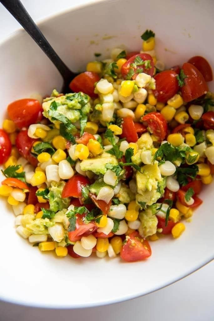 corn salsa in a white bowl