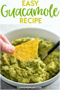 I've been making (and eating!) guacamole for years and I've got the easiest and best recipe that will have everyone begging you to bring the apps to the party! This Easy Guacamole Recipe is the only one you need! #garnishedplate #guacamole #dip #avocado