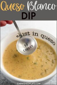 Making your own cheese dip from scratch is amazingly easy. This delicious queso blanco dip used freshly shredded cheese and chopped fresh jalapeño for a taste that beat all others! #garnishedplate #queso #quesoblanco #cheesedip