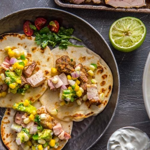 Grilled Chicken Street Tacos on metal plate