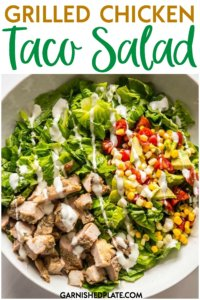 Use your leftover grilled chicken thighs and leftover corn salsa on top of fresh crisp romaine lettuce for the easiest entree dinner salad you can make! #chickensalad #tacosalad