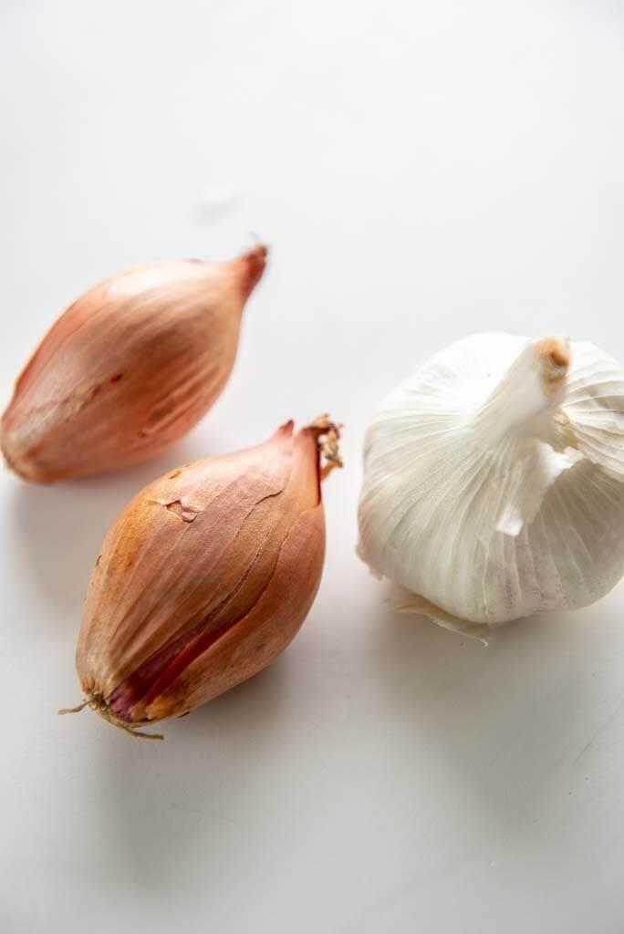 2 shallots and a head of garlic