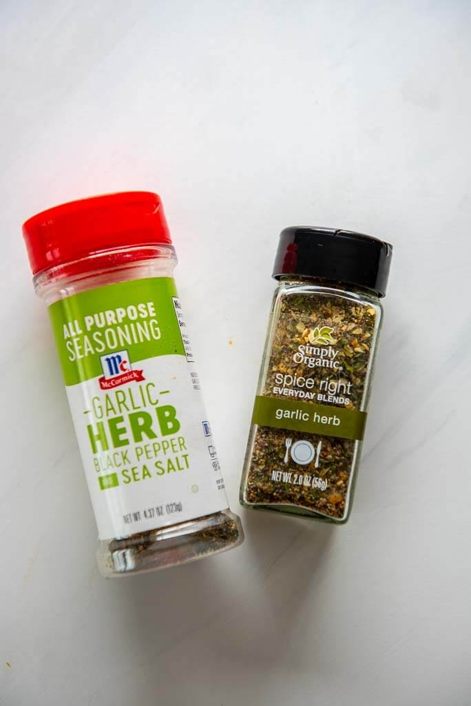 garlic and herb seasoning bottles for lemon basil chicken