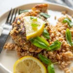 lemon basil chicken with farro on white plate topped with lemon slices and basil