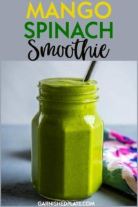 How do you make a healthy spinach smoothie taste better? Mango of course!! This Mango Spinach Smoothie is one of my go to recipes for a healthy and satisfying breakfast. #smoothie #healthybreakfast #spinachsmoothie