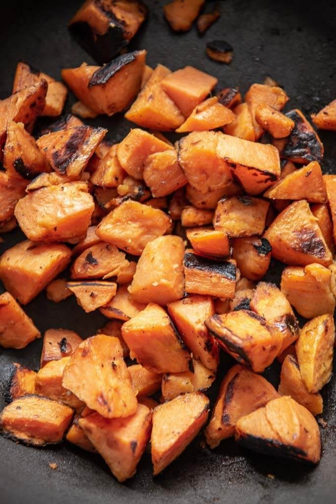 roasted sweet potato cubes
