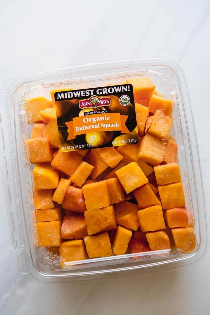 package of cubed butternut squash for butternut squash casserol