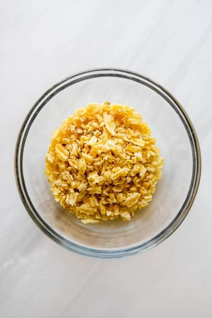 crushed potato chips to top butternut squash casserole