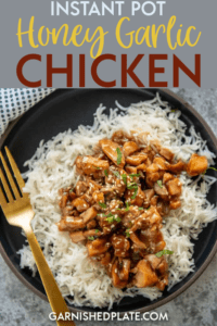A quick and simple chicken dish that the whole family will love! Instant Pot Honey Garlic Chicken is sweet and tangy and pair perfectly with rice and veggies for a wholesome dinner. #instantpot #chickenrecipe #pressurecooker