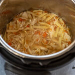 instant pot full of chicken noodle soup