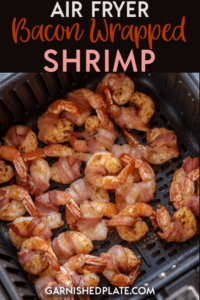 If you ever needed a reason to buy an air fryer, this is it!  You are only 4 ingredients and a few minutes away from Air Fryer Bacon Wrapped Shrimp which makes a delicious appetizer or a quick snack or dinner! #airfryer #shrimp #bacon