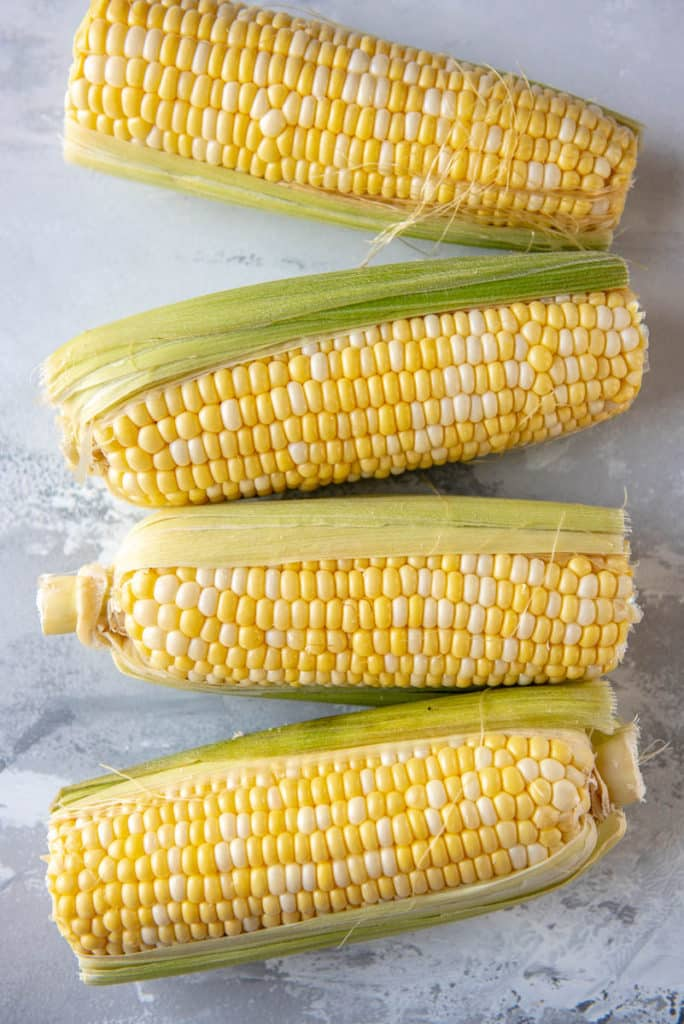 sweet corn on the cob in partial husks