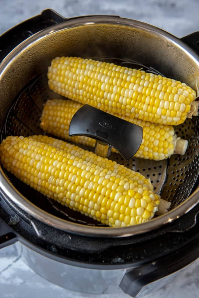 corn on the cob in Instant Pot with trivet