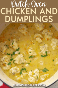 They key to making light and fluffy dumplings is to not over-mix the flour. Stir everything together until just combined and then slowly spoon into the simmering sauce. #dutchoven #chickenrecipe #chickenanddumplings