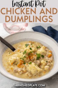 You never knew a comfort food meal this delicious could come together so quickly and be so easy to make! These Instant Pot Chicken and Dumplings are made all in one pot and take only a few minutes of hands-on prep time!! #instantpot #chickenthighs #chickenanddumplings