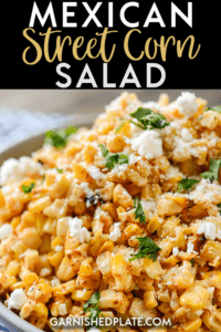 Whether you use fresh summer corn or frozen, see why this Mexican Street Corn Salad is a simple to make treat that's a must have side for all of your Mexican inspired dishes. #mexicanstreetcornsalad #cornsalad #cornonthecob