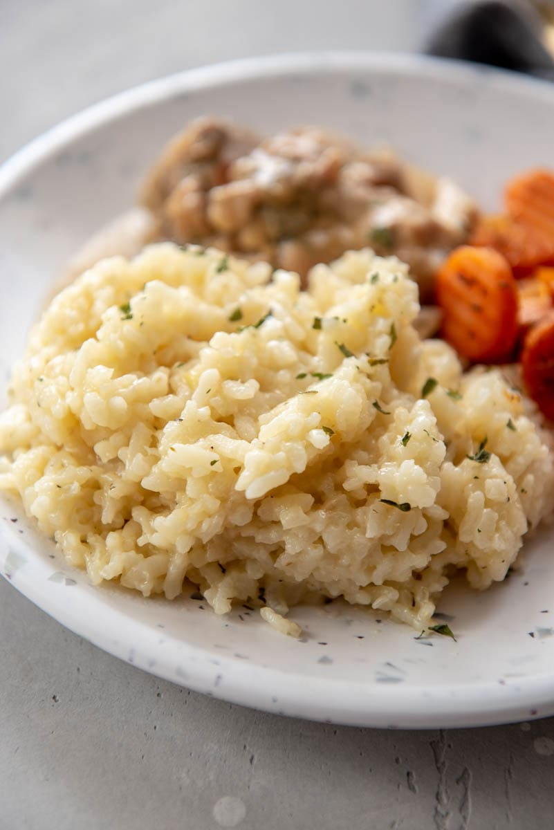 instant pot risotto for dinner with chicken and carrots