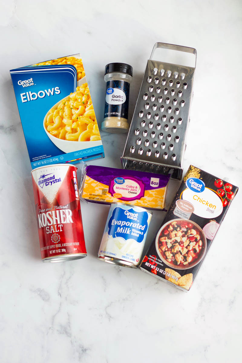 6 ingredients to make instant pot Mac and cheese