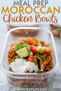 Grab your Instant Pot and in less than 1 hour you can have 4 meal prep Moroccan Chicken Bowls ready to be devoured this week! Delicious and packed with flavor, you'll never be sorry you took a few minutes to make a delicious meal that you could enjoy all week! #mealprep #instantpot #chickenrecipe
