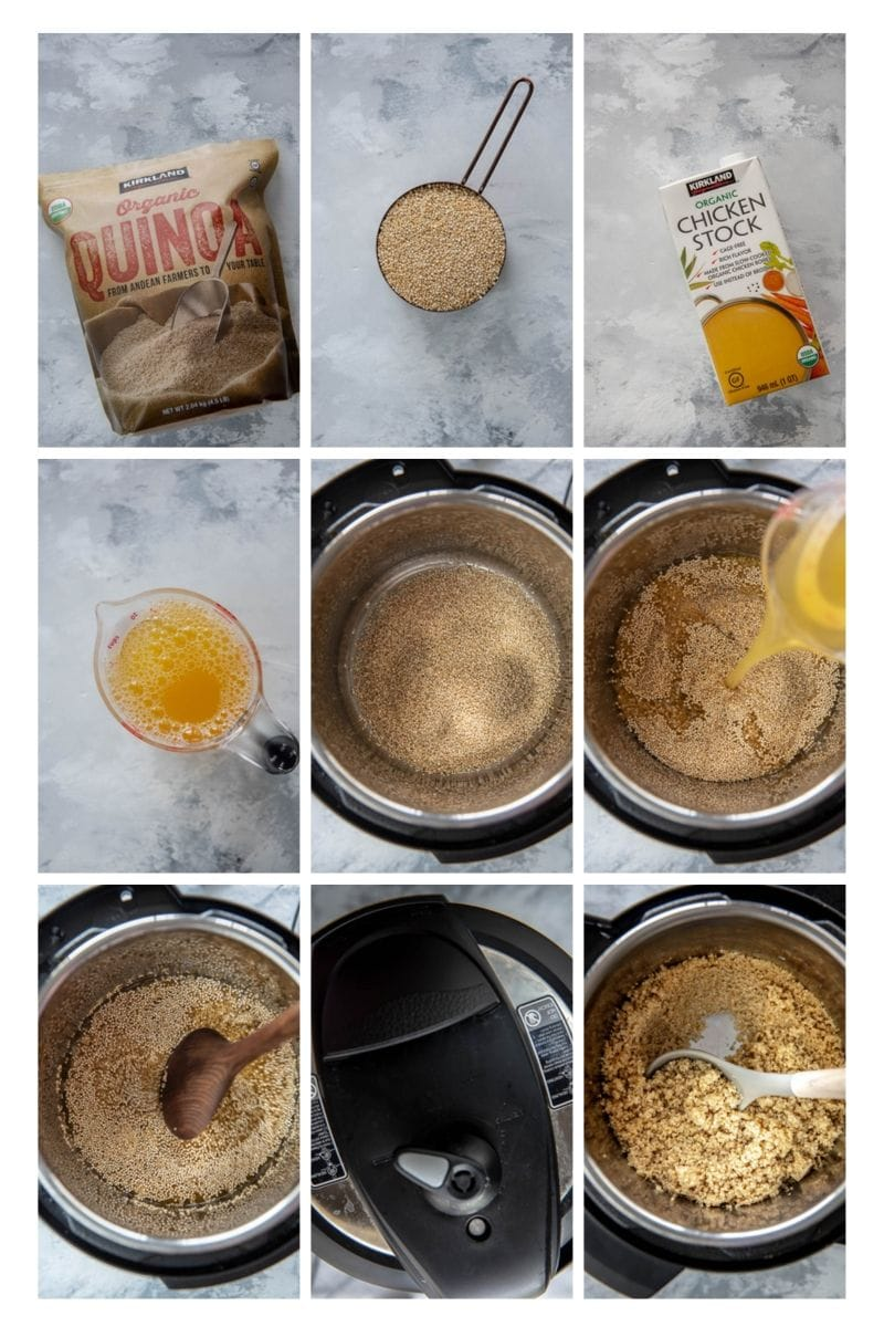 collage of steps for making quinoa in the instant pot