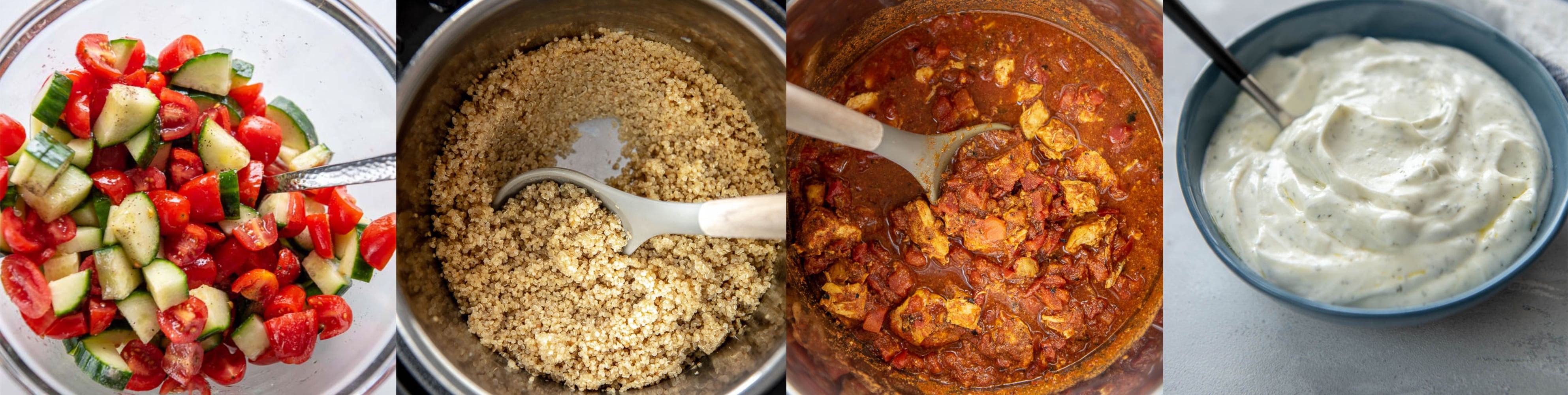 collage of four recipes to make moroccan chicken bowls