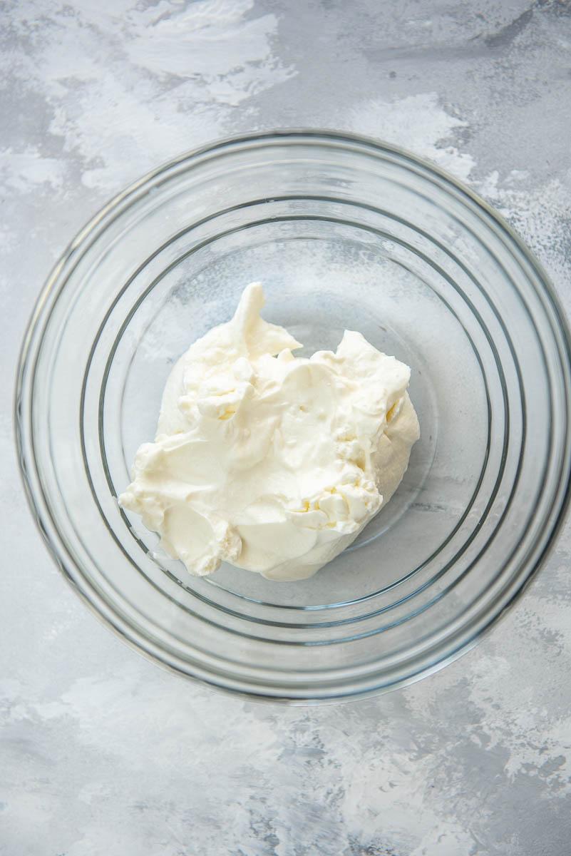yogurt in glass bowl