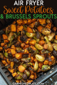 Want to eat more veggies? Of course!! This easy sweet potato and brussel sprout recipe in the air fryer takes just 6 ingredients and cooks up in under 15 minutes for a delicious and healthy side dish! #airfryer #sidedish #sweetpotatoes