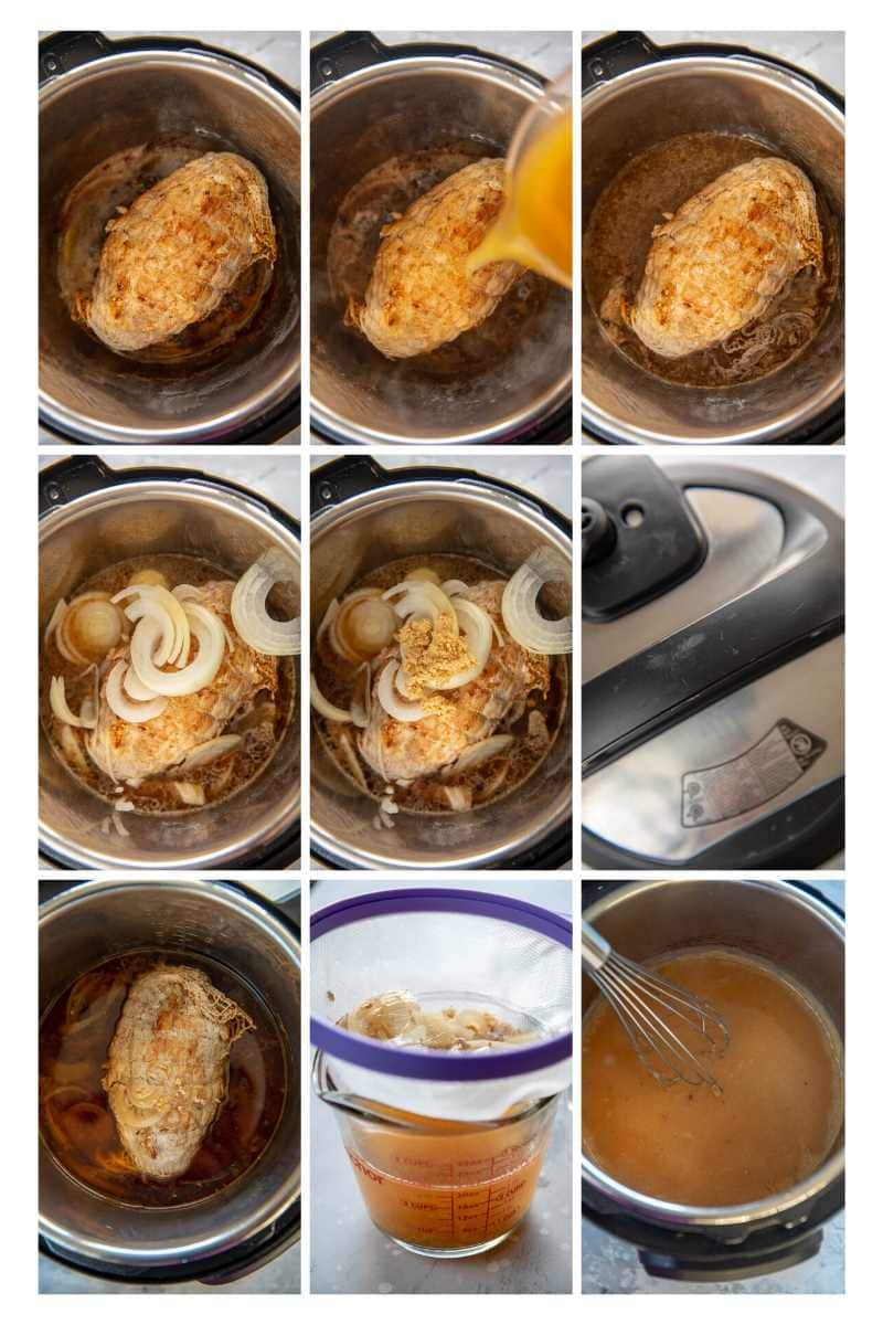 step by step photo collage making turkey breast in instant pot