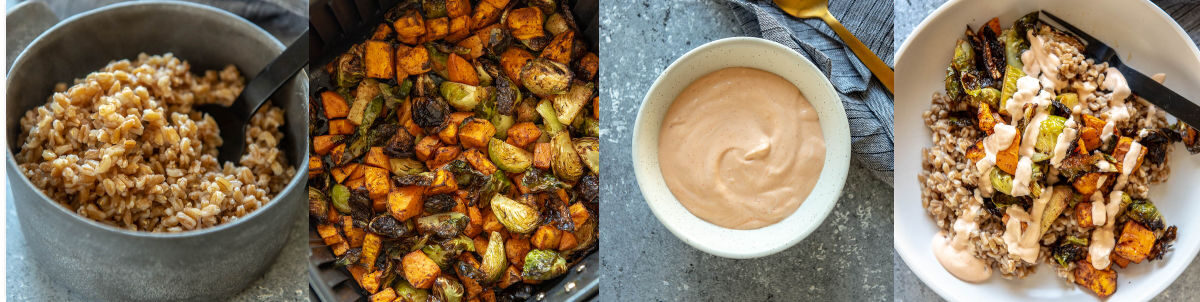 ingredients that make up sweet potato Buddha bowls