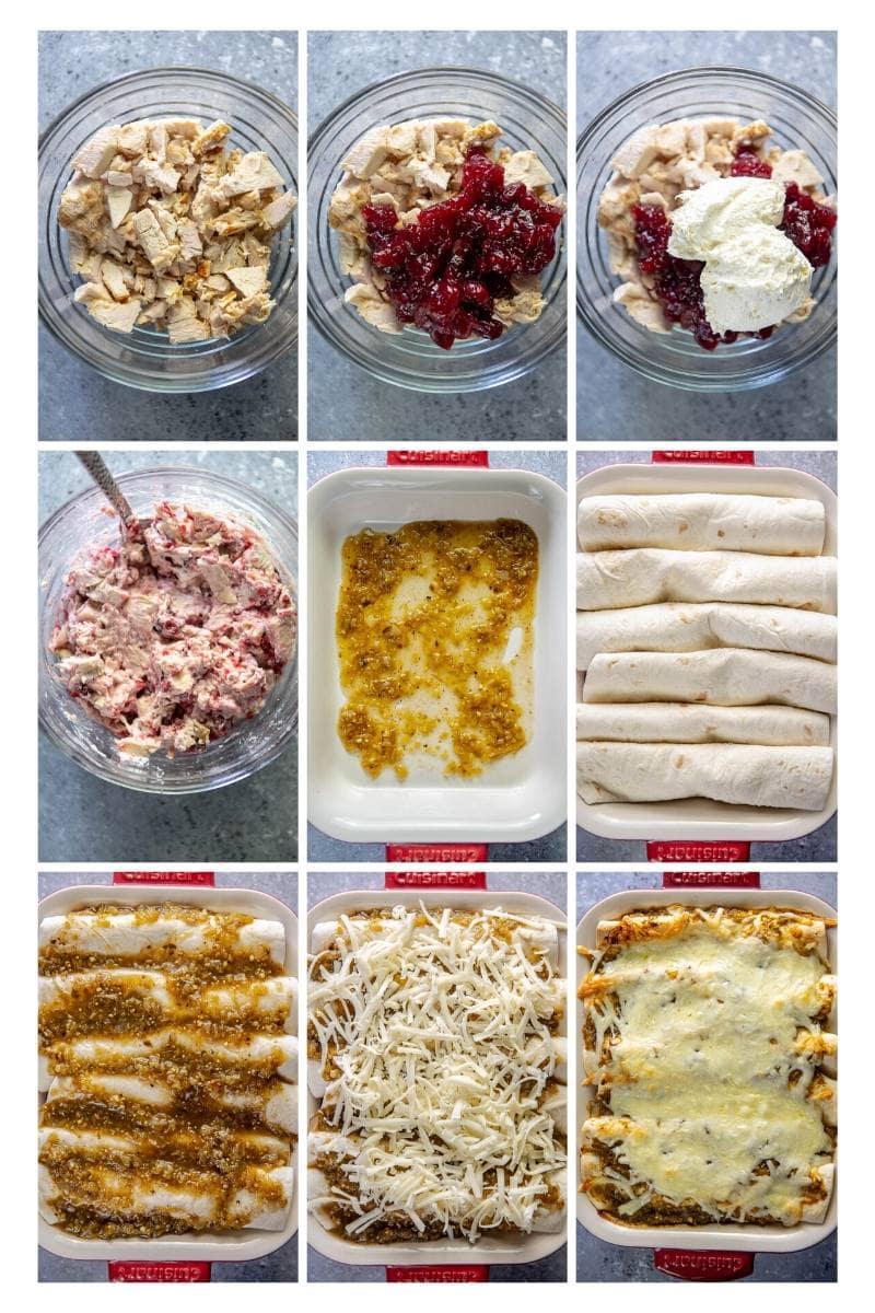 step by step collage making turkey enchiladas