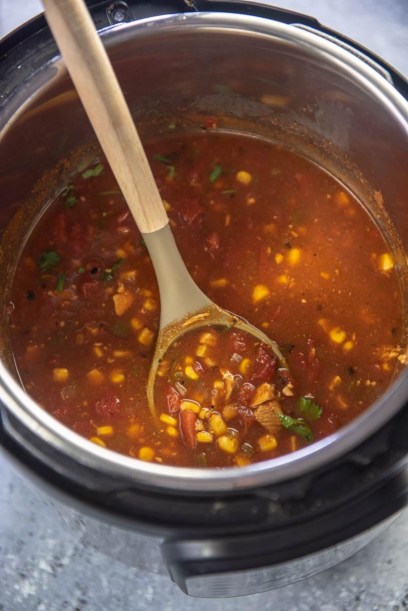 instant pot with turkey tortillas soup