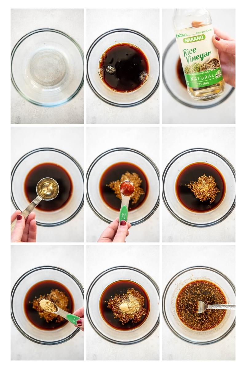 step by step collage making sauce for egg roll bowls