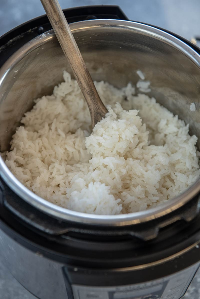 cooked white rice in instant pot with spoon