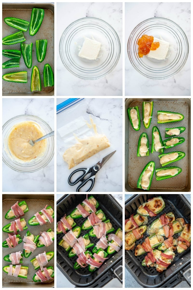 step by step collage prepping jalapeño poppers for air fryer