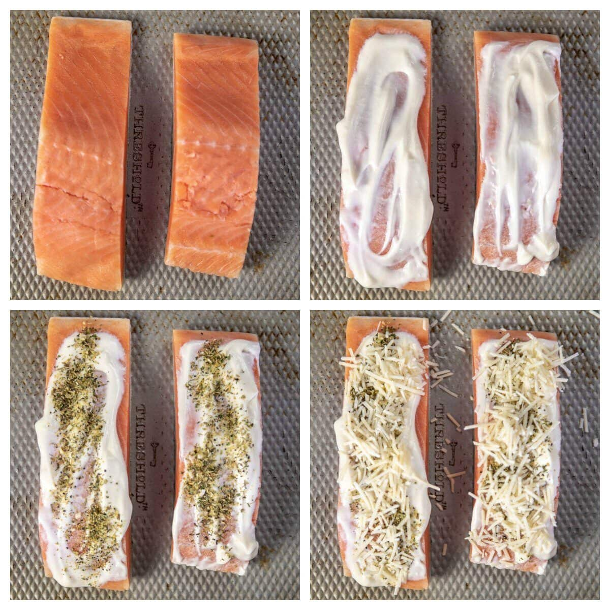 step by step preparing salmon with mayo, seasoning and cheese for air fryer