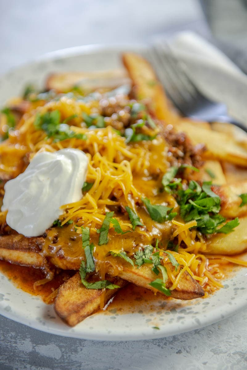 fries on plate smothered in chili cheese and sour cream
