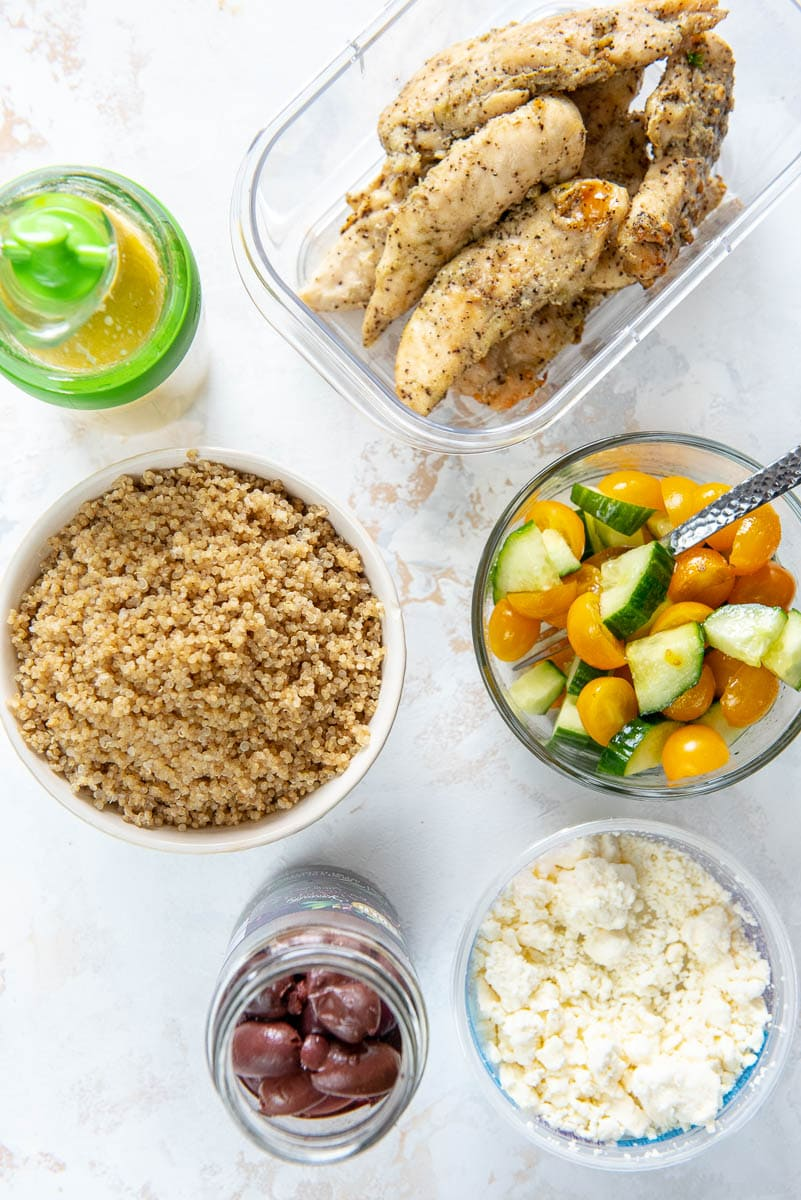 ingredients for greek chicken bowls in containers