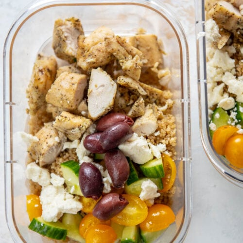 greek chicken bowls in meal prep containers