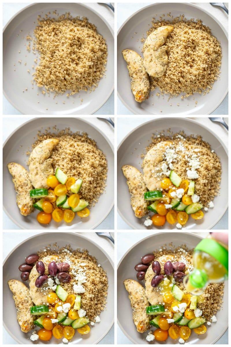 step by step layering greek chicken bowls